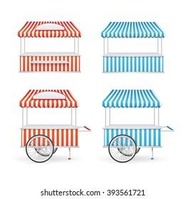 Market Stall Set. Cart and Kiosk. Vector illustration