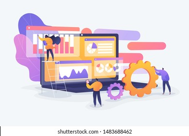 Market statistics analysis, marketing strategy development. Business research. Identify business needs, determine solutions, IT business problems concept. Vector isolated concept creative illustration