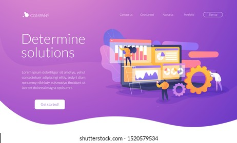 Market statistics analysis, marketing strategy development. Business research. Identify business needs, determine solutions, IT business problems concept. Website homepage header landing web page