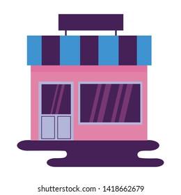 market store commerce facade city vector illustration