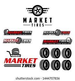 Market tires logo vector illustration