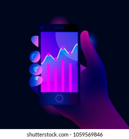 Market trend analysis on smartphone with line chart and graphs. Hand holds mobile phone. Design infographic, statistics on screen. Futuristic hi tech mobile technology concept. Trendy style. Vector.