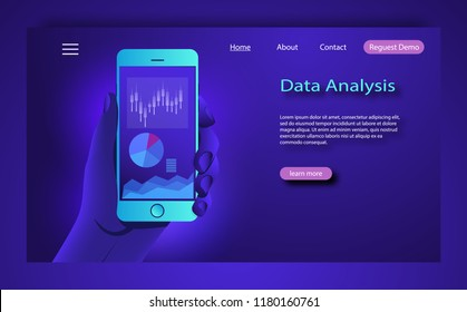 Market trend analysis on smartphone with line chart and graphs. Hand holds phone. Data analysis concept. Flat design concept data marketing. Visualize with graph and chart marketing growth.