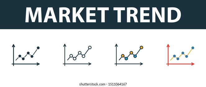Market Trend icon set. Four elements in diferent styles from risk management icons collection. Creative market trend icons filled, outline, colored and flat symbols.