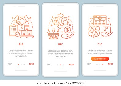 Market types onboarding mobile app page screen vector template. Business models. B2B, B2C, C2C walkthrough website steps with linear illustrations. UX, UI, GUI smartphone interface concept