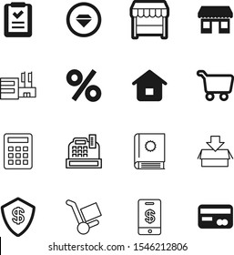 market vector icon set such as: facade, exterior, protect, mall, art, investment, precious, plastic, shipment, cashbox, icons, handbook, pictogram, dollar, document, offer, electronic, round, debit
