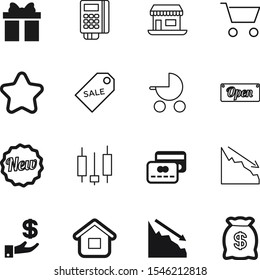 market vector icon set such as: good, pram, newborn, growth, grocery, close, front, toddler, building, structure, tax, day, machine, color, child, holding, present, ribbon, kid, badge, holiday
