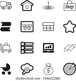 market vector icon set such as: roof, structure, construction, fair, laptop, menu, screen, packaging, stars, expand, debt, marketplace, residential, car, farmers, euro, trolley, seo, childhood, keep