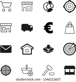 market vector icon set such as: performance, house, judge, courthouse, pictogram, art, fashion, strategy, mail, address, pack, set, page, send, storage, dart, add, residential, silhouette, price