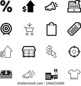 market vector icon set such as: advertising, promotion, strategy, t, percentage, clothes, arrows, service, idea, goal, offer, accuracy, online, mark, present, silhouette, scanner, empty, pay, round