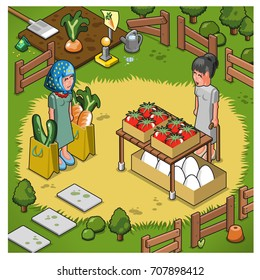 Market woman selling huge tomatoes and eggs to lady customer, bags filled with big cucumbers and carrots. Set on meadow, vegetable bed in background (isometric view illustration)