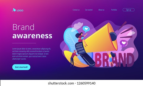 Marketers with megaphone conducting brand awareness campaign. Brand awareness, product research result, marketing survey metrics concept. Website vibrant violet landing web page template.