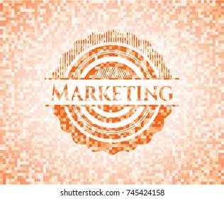 Marketing abstract orange mosaic emblem with background