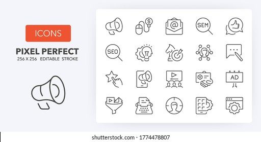 Marketing, advertising and promotional campaigns thin line icon set. Outline symbol collection. Editable vector stroke. 256x256 Pixel Perfect scalable to 128px, 64px...