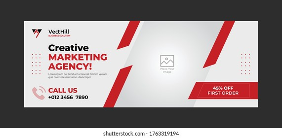 Marketing agency facebook cover and banner template