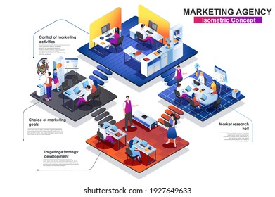 Marketing agency interior isometric concept. Scenes of market research, targeting, strategy develop, choice goals. People characters work at different department. Vector flat illustration in 3d design