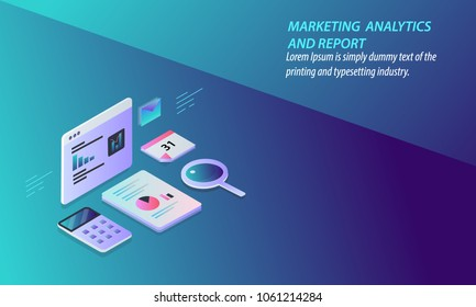 Marketing analytics report - Digital data analysis - Research - Technology 3D design vector concept