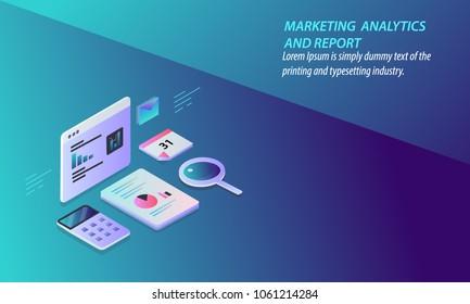 Marketing analytics report - Digital data analysis - Research - Technology 3D design vector concept