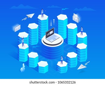 Marketing Automation concept in isometric design. Business growth analytics or strategy development. Vector illustration.