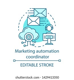Marketing automation coordinator blue concept icon. Digital marketing specialty idea thin line illustration. Automated business campaign. Mass mailing. Vector isolated outline drawing. Editable stroke