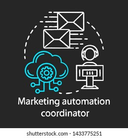 Marketing automation coordinator chalk concept icon. Digital marketing specialty idea. Automated business campaigns. Mass mailing. Vector isolated chalkboard illustration