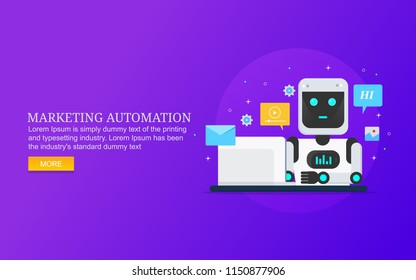 Marketing automation, digital marketing, marketing technology flat design vector banner with icons and texts