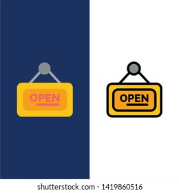 Marketing, Board, Sign, Open  Icons. Flat and Line Filled Icon Set Vector Blue Background
