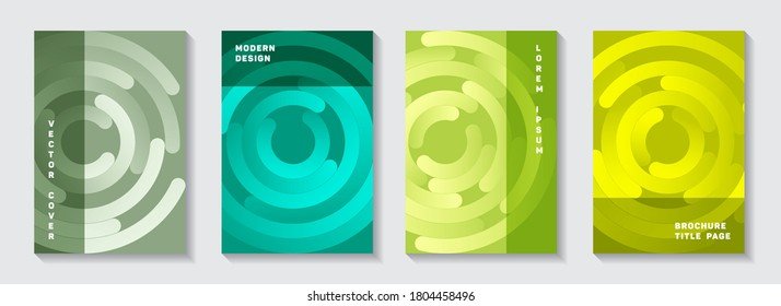 Marketing booklet title pages set. Flat presentation concentric elements motion vector backdrops. Aim goal achievement circles concept. Abstract catalog front pages templates.