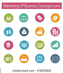 Marketing of business concept icons,vector
