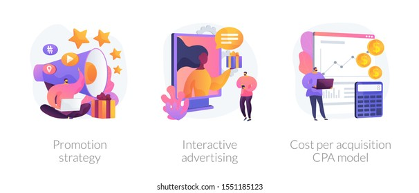 Marketing campaign planning, targeted ad, expenses analysis. Promotion strategy, interactive advertising, cost per acquisition CPA model metaphors. Vector isolated concept metaphor illustrations