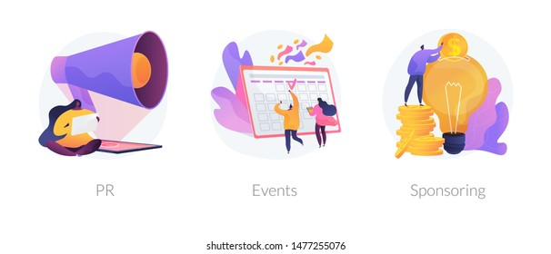 Marketing campaign, workflow planning and time management. Business funding, money investing cliparts set. PR, events, sponsoring metaphors. Vector isolated concept metaphor illustrations