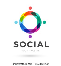Marketing colorful logo , people abstract social media logo