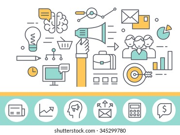 Marketing concept illustration, thin line style, flat design