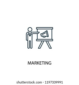 marketing concept line icon. Simple element illustration. marketing concept outline symbol design. Can be used for web and mobile UI/UX