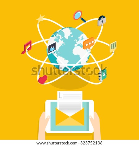 Marketing concept of running email campaign, email advertising, direct digital marketing.  Desktop, chat, video, photo, music, phone, tablet. Flat web illustration infographics collection.