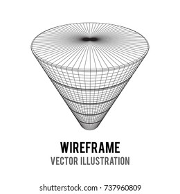 Marketing Conversion Funnel Sales Diagram. Wireframe poly mesh vector illustration. Concept of Business and Finance.