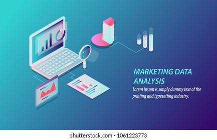 Marketing data analysis - Digital marketing, Data Research 3D style isometric design concept