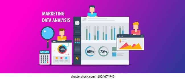 Marketing data analysis, ROI calculation, Data research and report on dashboard flat vector concept