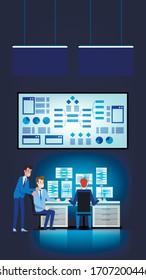 Marketing Data Analysis Workflow. Brainstorming Team Process. Market Agency Statistics Analytics. Surveillance, Analyze and Research. Modern Digital Media Strategy Measure and Planning.