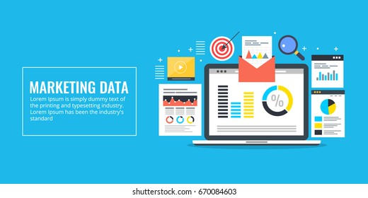 Marketing Data, web analysis,  data driven marketing flat vector conceptual banner with icons