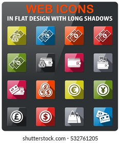 marketing and e-commericons set in flat design with long shadowce