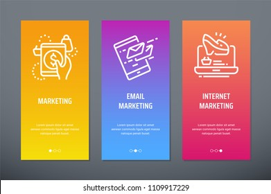 Marketing, Email marketing, Internet marketing Vertical Cards with strong metaphors. Template for website design.