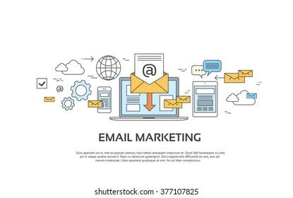 Marketing Email Laptop Envelope Send Business Mail Device Entertainment Vector Illustration