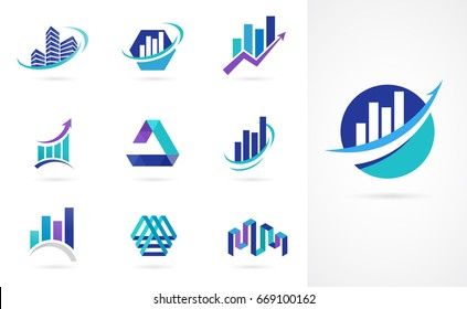 Marketing, finance, sales, media and business logos and icons