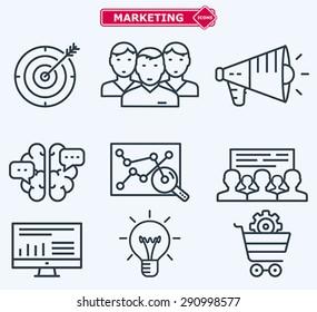 Marketing flat  line icons. Training, development, planning, goals.