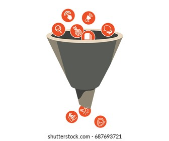 Marketing funnel with icons