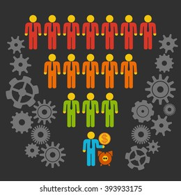Marketing Funnel Sales Diagram with People and Cogs. Vector isolated on black background. Conversion Funnel Sale Chart.