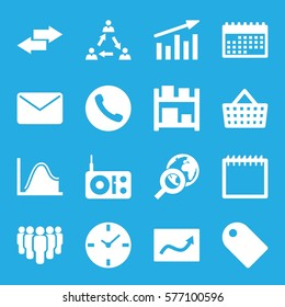Marketing icon. Set of 16 Marketing filled icons such as communication, chart, group, clock, calendar, radio, mail, tag, shopping bag, globe search, arrow, storage, call