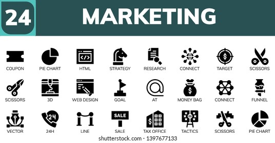 marketing icon set. 24 filled marketing icons.  Simple modern icons about  - Coupon, Pie chart, Html, Strategy, Research, Connect, Target, Scissors, 3d, Web design, Goal, At, Money bag