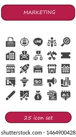 marketing icon set. 25 filled marketing icons.  Collection Of - Copywriter, Target, Line, Value, Percentage, Tax office, Mail, Connection, Scissors, Coupon, Market, Startup, Supermarket